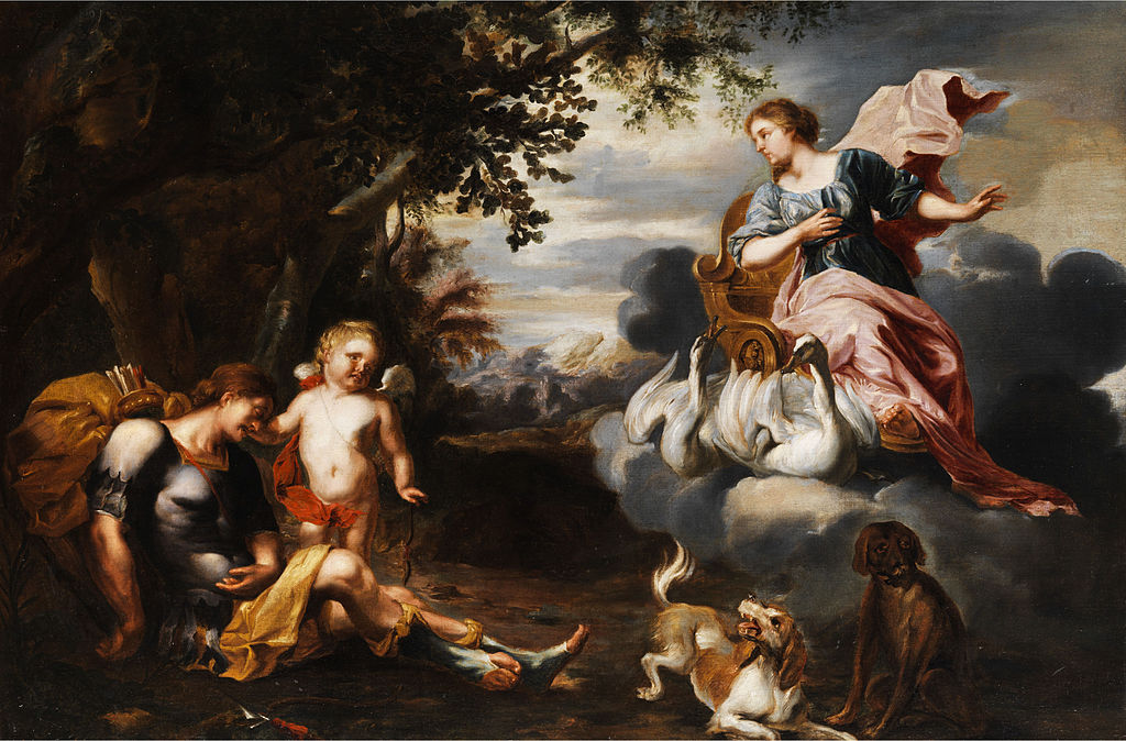 Aphrodite und Adonis, Flandern 17. Jh. Öl auf Leinwand